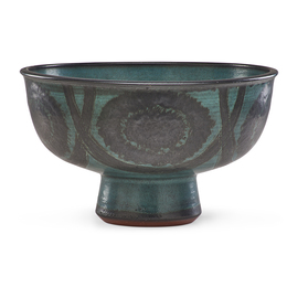 Large footed bowl with lines and circles, Claremont, CA