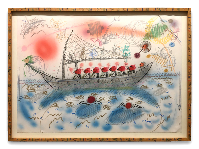 Roy De Forest, 'Untitled (eight red men in a boat)', 1984, Drawing, Collage or other Work on Paper, Mixed media on paper with artist designed frame, Brian Gross Fine Art