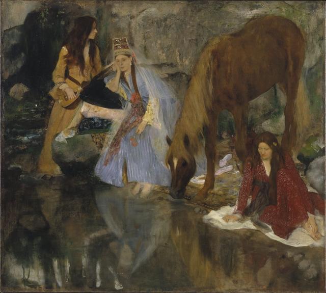 """Edgar Degas, 'Portrait of Mlle Fiocre in the Ballet """"La Source"""" (Portrait de Mlle...E[ugénie] F[iocre]: à propos du ballet """"La Source"""")', ca. 1867-1868, Brooklyn Museum"""