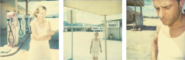 Stefanie Schneider, 'Gasstation (triptych) - analog', 2000, Photography, Analog C-Print, hand-printed by the artist in her own color lab in Berlin,  based on 3 original Polaroids.  Mounted on Aluminum with matte UV-Protection., Instantdreams