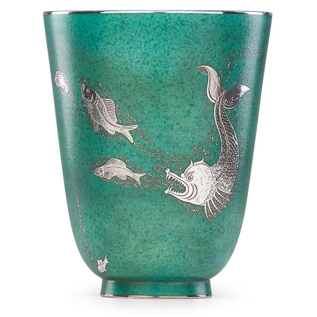 Wilhelm Kåge, 'Fine large Argenta vase with fish, Sweden', Design/Decorative Art, Glazed stoneware, silver inlay, Rago/Wright