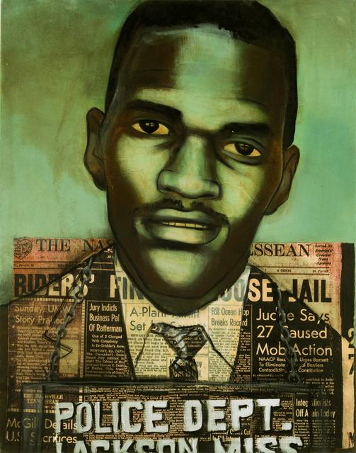 Charlotta Janssen, ' Frank Holloway (portrait) 22 yrs, from Atlanta GA Arrested 5/24/1961 Jackson MS', 2011, Hudson Milliner Art Salon