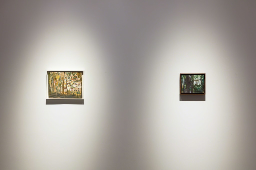 """Installation view of the exhibition Peter Doig """"Cabins and Canoes: the Unreasonable Silence of the World"""" Faurschou Foundation, Beijing, 2017 Artworks in this photo: Briey (en Fôret)(1994) and Boiler House(1993)©Peter Doig Photograph by Kitmin Lee ©Faurschou Foundation"""