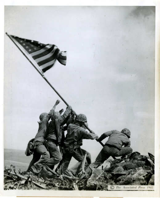 , 'Raising the Flag on Iwo Jima,' printed 1945, Be-hold