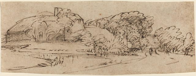 Rembrandt van Rijn, 'A Landscape with Farm Buildings among Trees', ca. 1650/1655, Drawing, Collage or other Work on Paper, Pen and brown ink with brown wash on laid paper, National Gallery of Art, Washington, D.C.