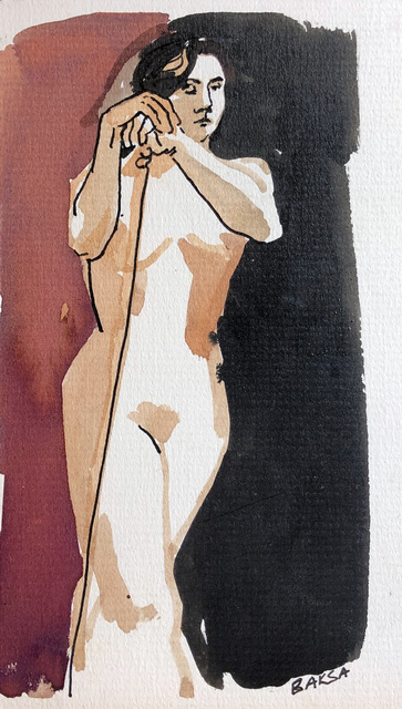 Teresa Baksa, 'Woman with Support', 1994, Painting, Ink/Board, Miller White Fine Arts