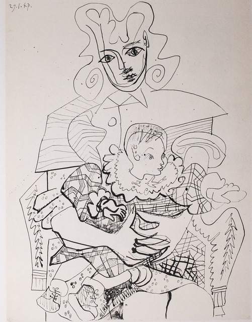 Pablo Picasso, 'INES Et Son Enfant (INES And Her Child), 1949 Limited edition Lithogrph by Pablo Picasso', 1949, White Cross
