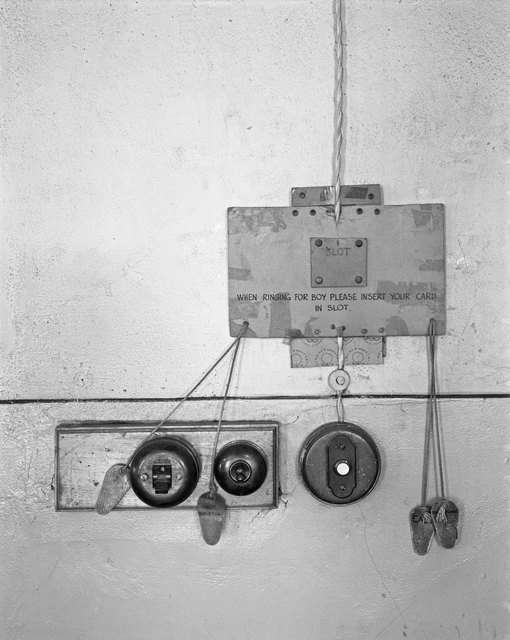 ", 'Call system used by officials at a mine office when they wanted the service of ""the boy"". Consolidated Main Reef Gold Mine, October 1967,' 1967, Goodman Gallery"