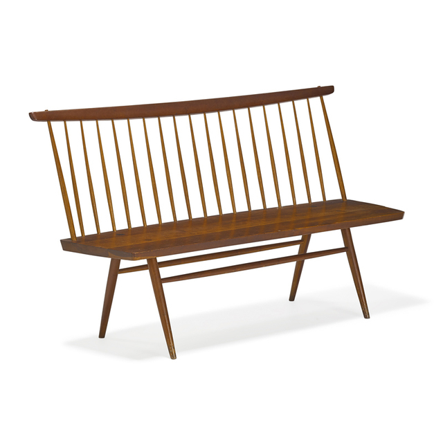 George Nakashima, 'Straight-Edge Bench with Back, New Hope, PA', 1955, Rago/Wright