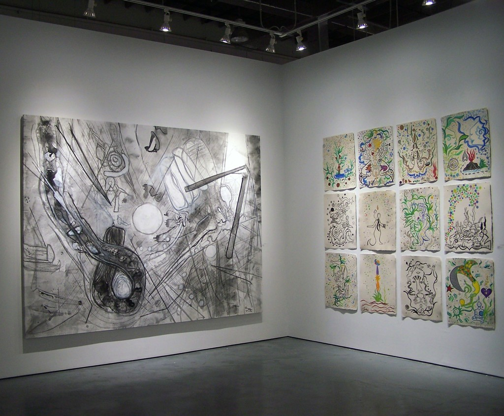 """Untitled"" and ""The Games"" in the ""Two Generations: Roberto Matta & Federica Matta"" exhibition"