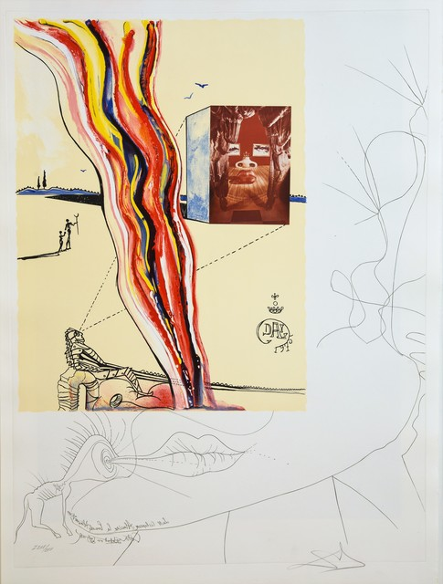 Salvador Dalí, 'Liquid and Gaseous Television ', 1975, Drawing, Collage or other Work on Paper, Original Etching + Lithograph + Collage, Dali Paris