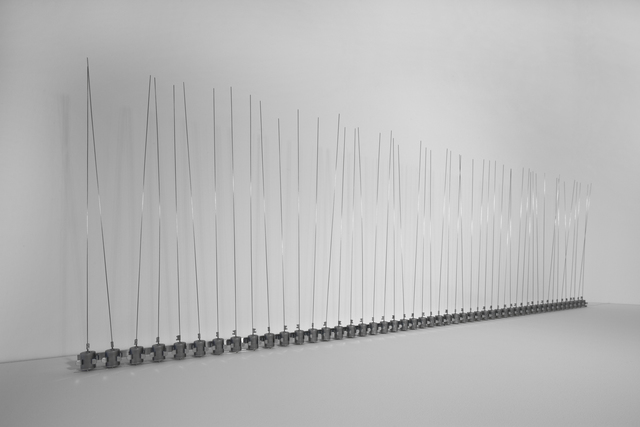 , '50 prepared dc-motors, filler wire 1.0mm, 60cm,' 2010, bitforms gallery
