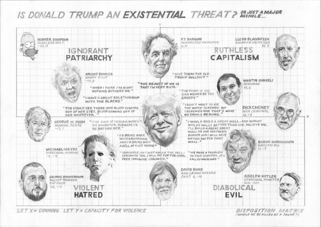 , 'Is Donald Trump an Existential Threat? Or Just A Major Asshole…,' 2016, Postmasters Gallery