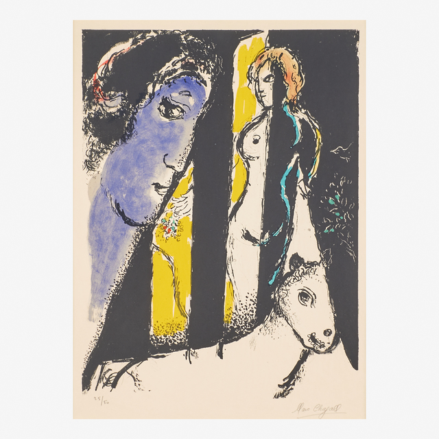 Marc Chagall, 'Le Profil Bleu', 1972, Print, Lithograph in colors on Arches paper (framed), Rago/Wright