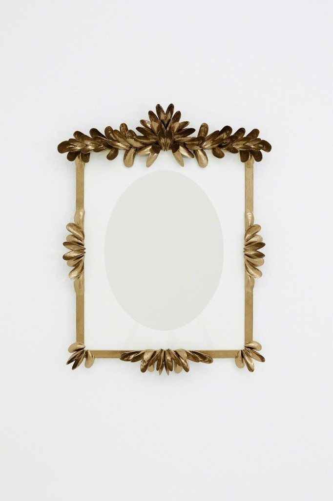 Ligia Dias MARCEL 2017  Mirror, wood, glass, paper, shells, gold spray paint 50 x 70 cm
