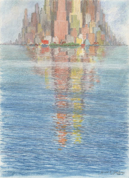 Gerald K. Geerlings, 'Cityscape Reflections - Mood No. 11', 1981, Print, Lithograph on zinc, colored with pastel, Childs Gallery