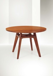 a dining table with a walnut wood structure and maple wood top