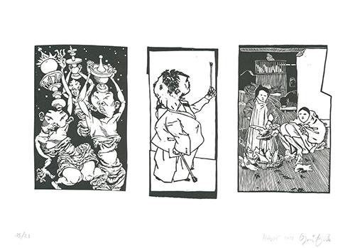 Johannes Grützke, 'Bilder aus Bongs Stall', 2012, Print, Three linoleum cuts printed on one sheet, Sylvan Cole Gallery