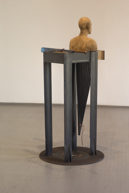 VYTAUTAS VIRŽBICKAS, 'Congrats.To know the difference between intellect and power, as well as which one is more satisfying', 2016, Sculpture, Burnt lacquered steel, copper, oak, burnt oak, baseball bat, window tinting film, ink., Galerija VARTAI