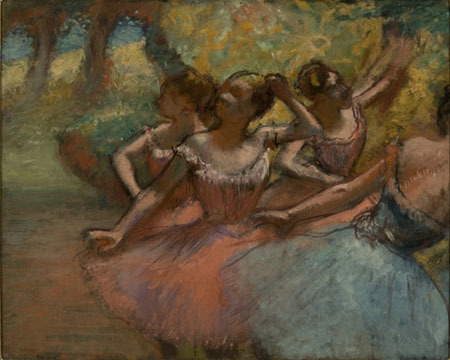 , 'Four Ballet Dancers on Stage (Quatro Bailarinas em Cena),' about 1885-1890, Denver Art Museum