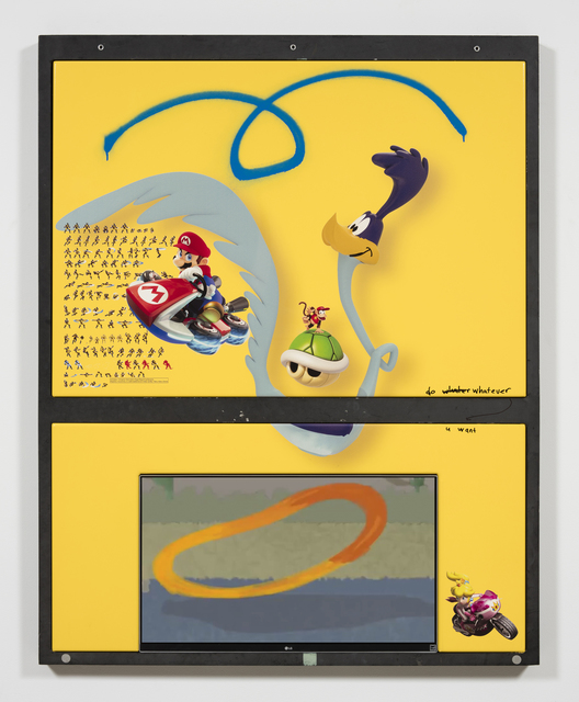 , 'roadrunner (w mario, princess peach, diddy kong and wolverine),' 2017, Steve Turner