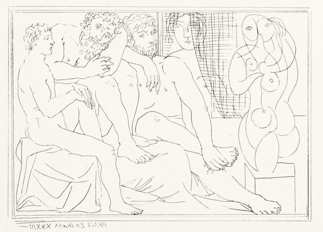 "Pablo Picasso, 'Sculpteurs, Modèles et Sculpture', March 20-1933, Print, Original etching printed in black ink on Montval laid paper bearing the ""Vollard"" watermark., Galerie d'Orsay"