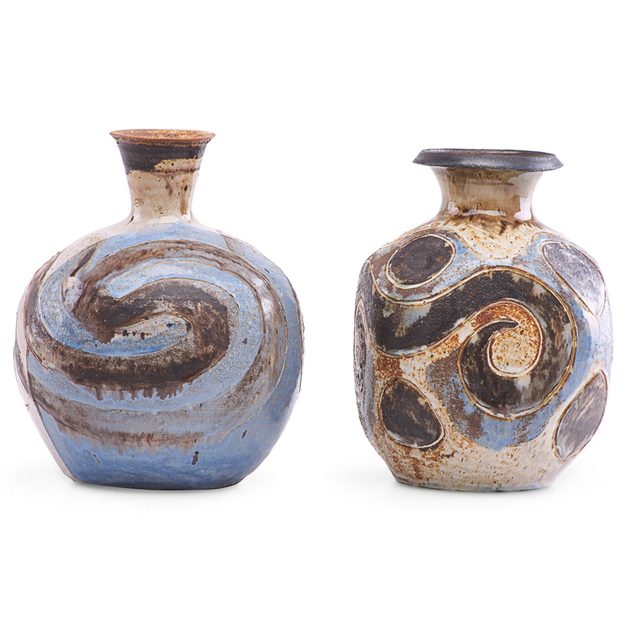 Marguerite Wildenhain, 'Two bottle-shaped vases with abstract designs, Guerneville, CA', Rago