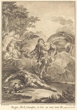 Jean Charles Levasseur after Hubert François Gravelot, 'Regne, dit-il, triomphe, et sois en tout mon fils', National Gallery of Art, Washington, D.C.