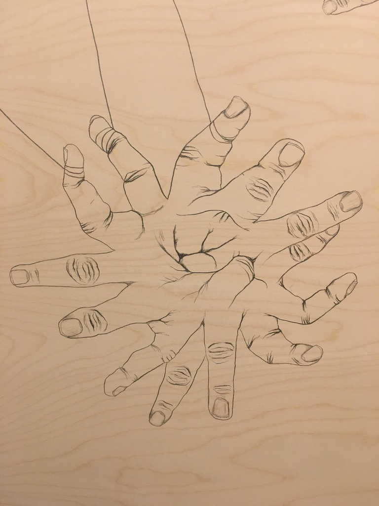 """Connected"" (detail) by Brian Mallman, 2017, graphite on wood panel"
