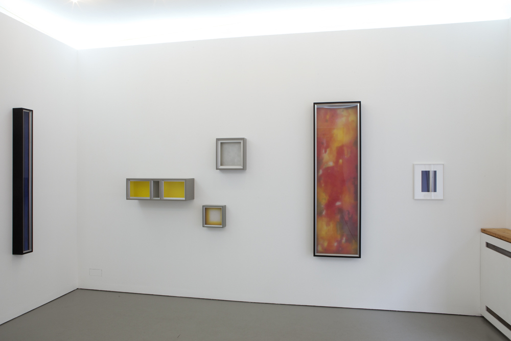 View into the exhibition towards the opposite side with serveral of Dittmar Krüger's 'Boxed Paintings'; photo: Lukas Heibges