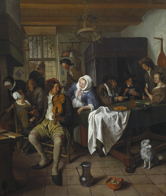 , ' Interior of a Tavern with Card Players and a Violin Player,' 1665, Royal Collection Trust