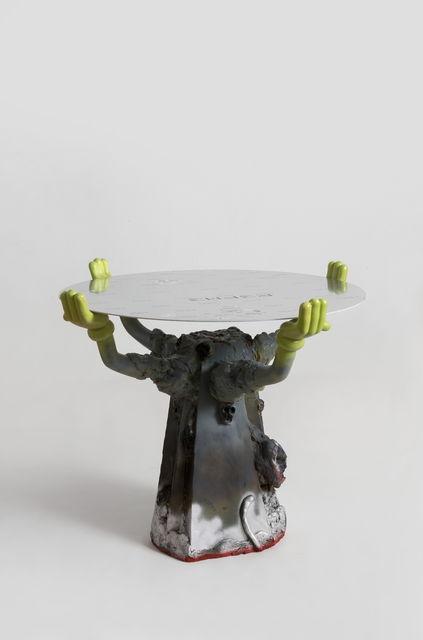 Zhou Yilun 周轶伦, ' Round Table with Cartoon Hands (Grey)', 2019, Beijing Commune