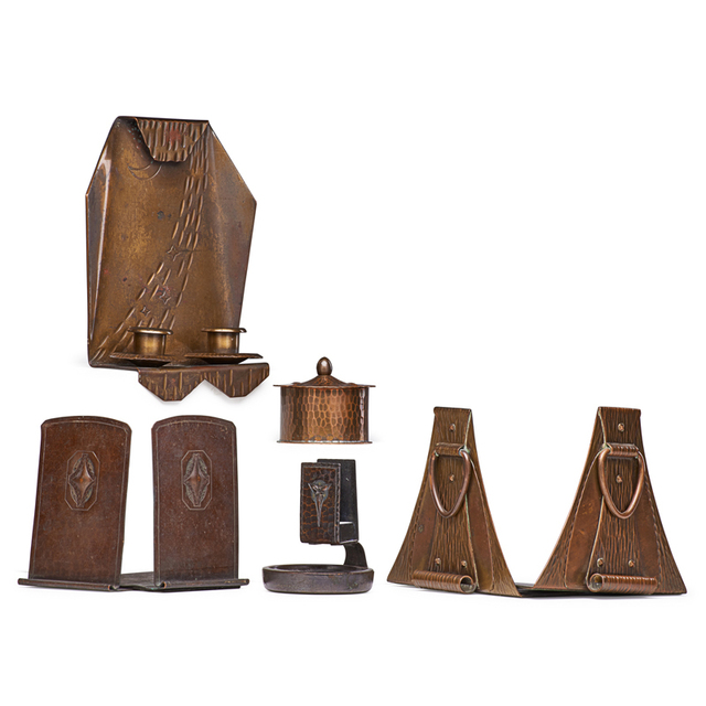Roycroft, 'Two Pairs Of Bookends, Candle Sconce, Inkwell and Match Holder, East Aurora, NY', 1910s-20s, Design/Decorative Art, Hammered Copper, Brass, Glass, Rago/Wright