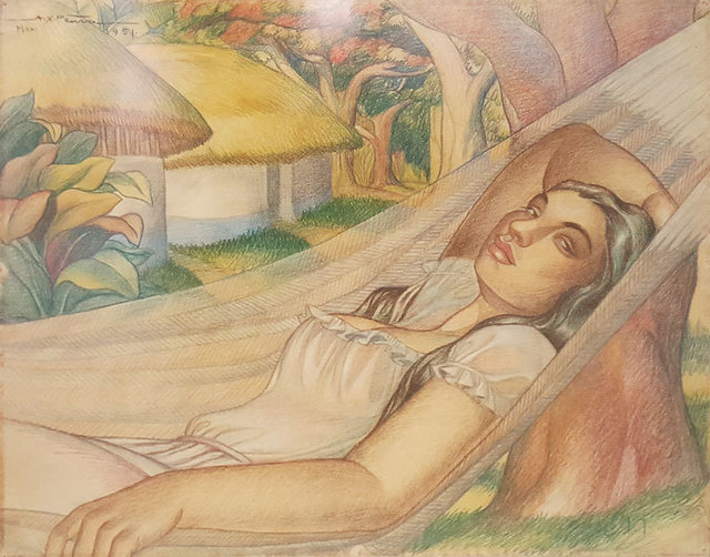 , 'Dama en Hamaca,' 1951, GALERÍAS A. CRISTOBAL