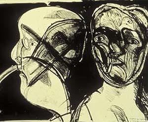 Jose Luis Cuevas, 'Two Heads', 1986, Tamarind Institute