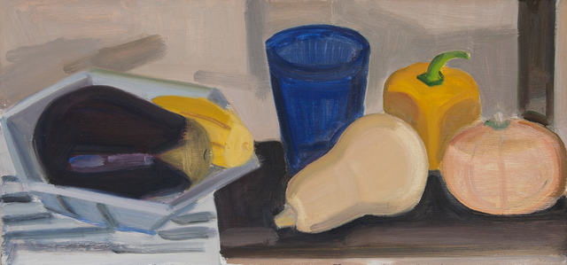 , 'Pie Tin, Eggplant, Blue Cup,' 2012, BCK Fine Arts Gallery at Montauk