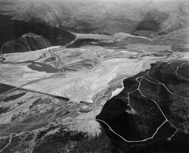 , 'Aerial view: run off control dam on North Toutle River Built: 1981; breached in 1982 eruption, 16 miles NE of Mt. St. Helens Crater,' 1982, Etherton Gallery