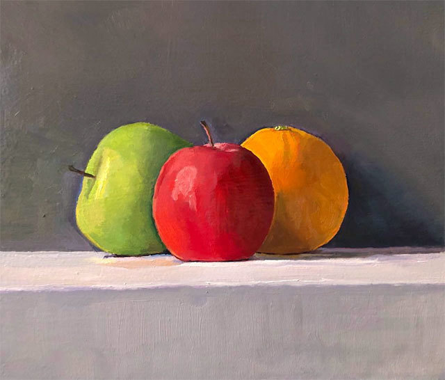 Dan McCleary, 'Two Apples and an Orange', 2020, Painting, Oil on canvas, Craig Krull Gallery