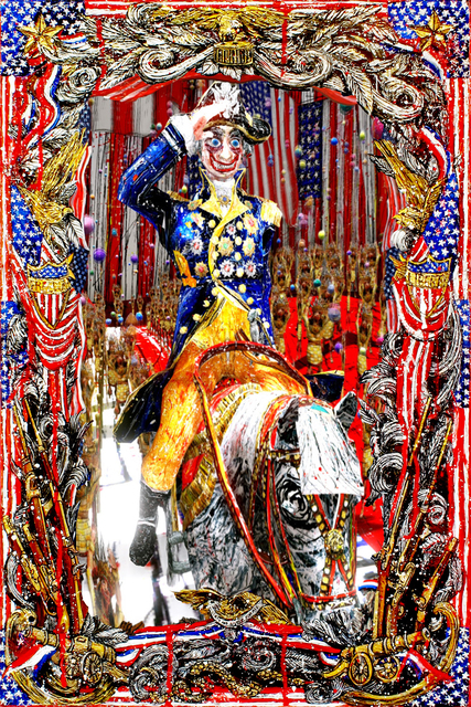 Federico Solmi, 'The Liberator (George Washington)', 2017, Video/Film/Animation, Hand painted 24 x 16 in. frame with acrylic and gold leaf on plexi and wood LED screen, digital animatio, Luis De Jesus Los Angeles