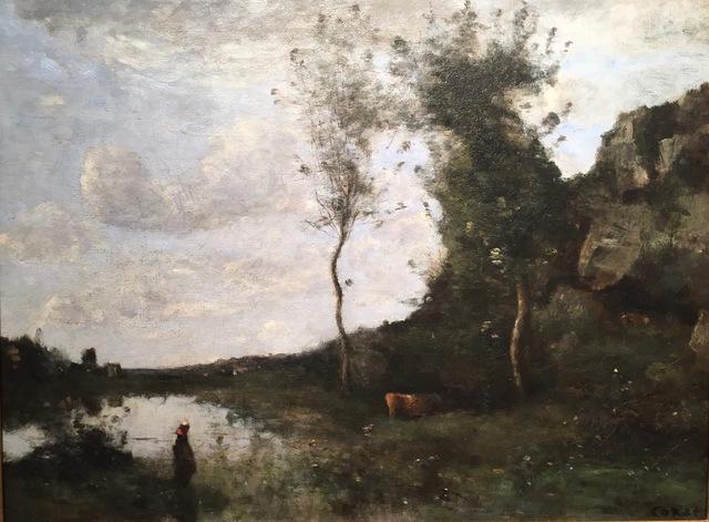 , 'Vachère et sa vache à la mare en vue d'un village,' , Anderson Galleries