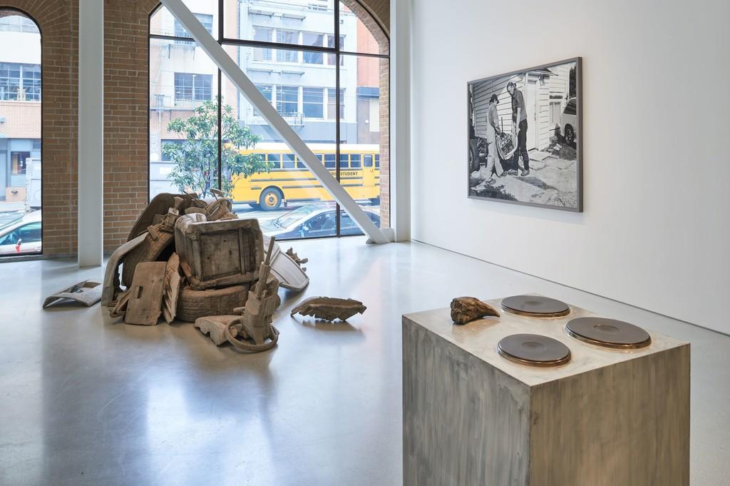 Installation view. Artwork, left to right: © Josh Kline; © 2019 Rosemarie Trockel/Artists Rights Society (ARS), New York; © Jeff Wall. Photo: Glen Cheriton. Courtesy Gagosian.