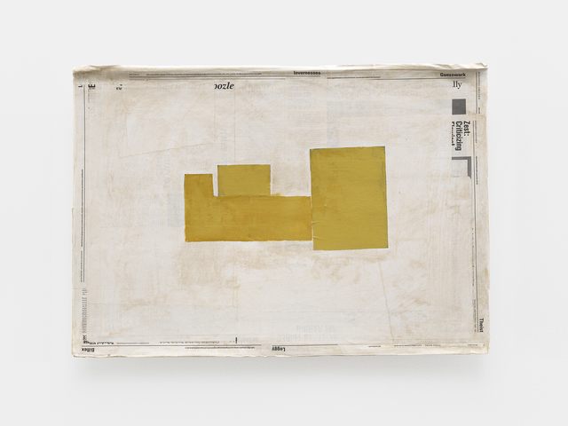 Mark Manders, 'Composition with Yellow', 2015-2019, Painting, Acrylic and offset print on paper, wood, Tanya Bonakdar Gallery