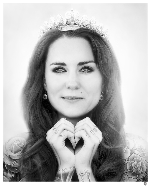 , 'Kate Middleton (black & white) [AP],' 2014, Reem Gallery