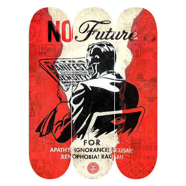 "Shepard Fairey, 'Shepard Fairy x The Skate Room Triptych Skate Deck Set ""No Future""', 2017, Pop Fine Art"