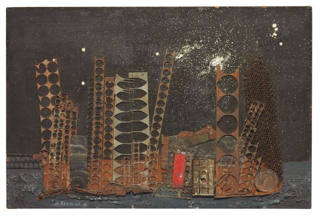 Antonio Berni, 'Paisaje Urbano', 1960, Painting, Oil on masonite with metal and wire collage, Galeria Sur