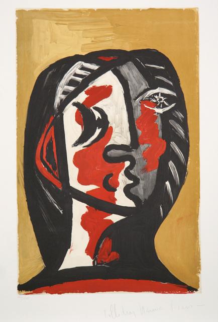 Pablo Picasso, 'Tête de Femme en Gris et Rouge sur Fond Ochre, 1926', 1979-1982, RoGallery