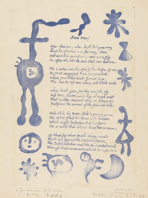 Joan Miró, 'Ruthven Todd. A Poem For Joan Miro Plate III (Cramer Books 14)', 1947, Forum Auctions