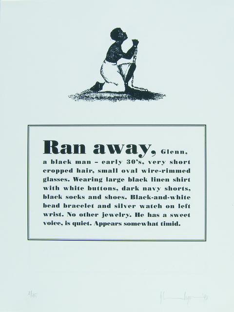 Glenn Ligon, 'Runaways ', 1993, Print, Lithographs, Bowdoin College Museum of Art