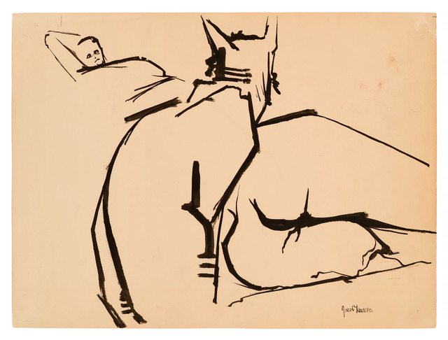 Jacob Lawrence, 'Cat with Gwen ', 1960, Drawing, Collage or other Work on Paper, Brush an ink on paper, DC Moore Gallery