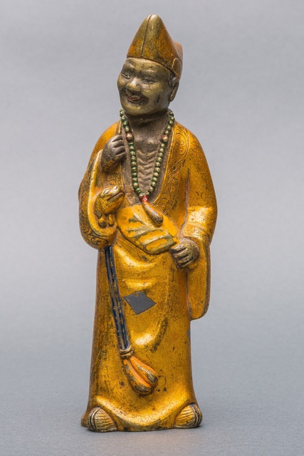 Bronze Sculpture, 'A Painted Gilt Lacquered Bronze Figure of Ji Gong, Qing Dynasty, 17,5 cm.', Sculpture, Arman Antiques Gallery